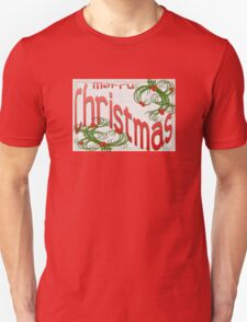 Merry Christmas With Stylized Holly Greeting Unisex T-Shirt
