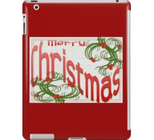 Merry Christmas With Stylized Holly Greeting iPad Case/Skin