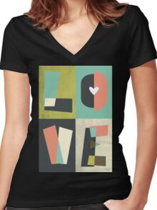 LOVE - typography full colour Women's Fitted V-Neck T-Shirt