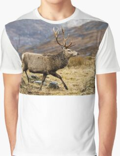 Red Deer Stag Running Graphic T-Shirt