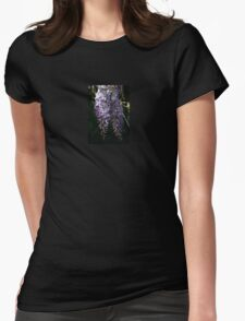 Wisteria With Garden Background Womens Fitted T-Shirt