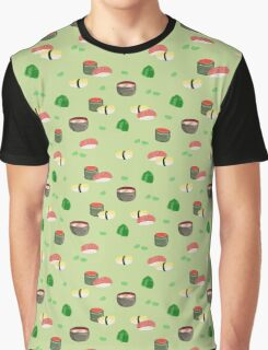 Assorted Sushi in Green Graphic T-Shirt