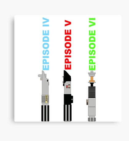 Episode 4-6 lightsabers with text Canvas Print