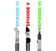 Episode 4-6 lightsabers with text Photographic Print