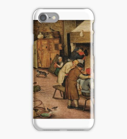 Pieter Brueghel the Younger PEASANTS WARMING THEMSELVES BESIDE A HEARTH iPhone Case/Skin