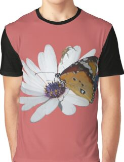 White Daisy and Butterfly Vector Background Removed Graphic T-Shirt