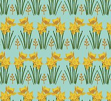 Daffodil floral pattern garden mint yellow spring florals flower blooms nature love by lule