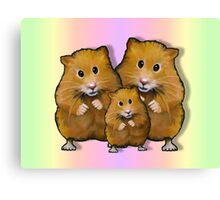 Hamster Family of Three, Colorful Background: Art Canvas Print