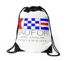 BEAUFORT North Carolina Nautical Flag Art Drawstring Bag