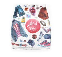 Men Set of trendy look. Watercolor clothes Mini Skirt