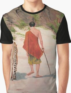 A Monk With His Cat Graphic T-Shirt