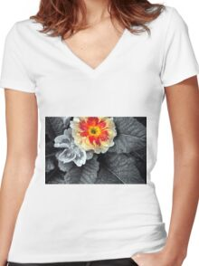 Fiery Primrose Women's Fitted V-Neck T-Shirt