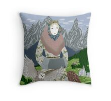 Lady with an owl and a dog Throw Pillow