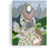 Lady with an owl and a dog Metal Print