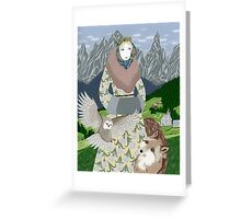 Lady with an owl and a dog Greeting Card