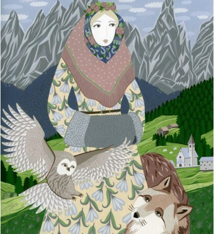 Lady with an owl and a dog Sticker