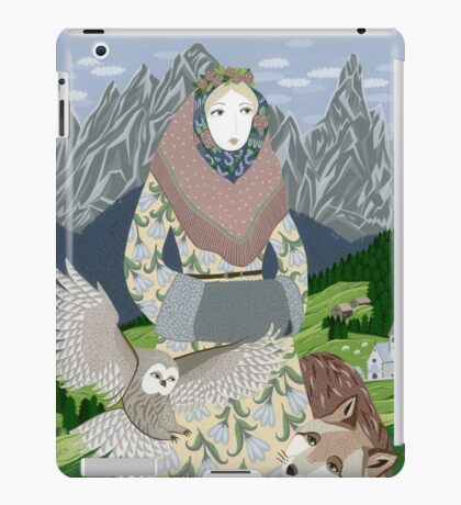 Lady with an owl and a dog iPad Case/Skin