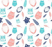 Coral Blue White Owl Pattern by dreamingmind