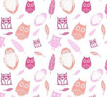 Fuchsia Pink Peach owl Pattern by dreamingmind