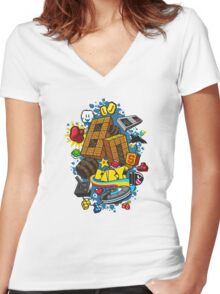80's Baby Women's Fitted V-Neck T-Shirt