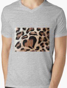 leopard fur heart Mens V-Neck T-Shirt