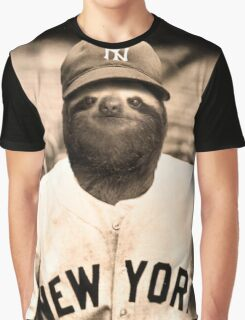 Baseball Sloth Graphic T-Shirt