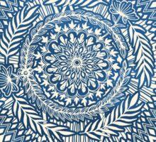 Diamond and Doodle Mandala On Blue Sticker