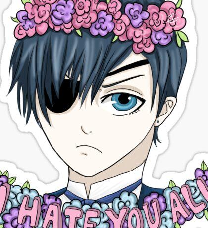 """""""I Hate You All"""" Kawaii Ciel - Black Butler Fan Art Sticker"""