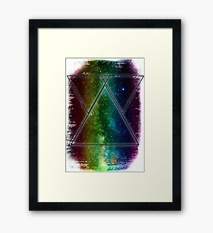 Hipster Galaxy Triangles Framed Print