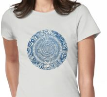 Diamond and Doodle Mandala On Blue Womens Fitted T-Shirt