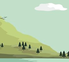 Cabin by the lake. - LANDSCAPE ILLUSTRATION by Josh Spacagna