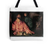 Saint Matthew and the Angel Artist Giovanni Gerolamo Savoldo Tote Bag