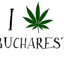 I Love Bucharest Weed T-Shirt by MrAnthony88