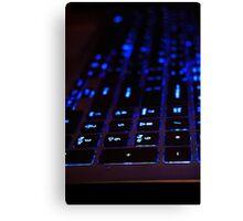 Laptop Blue lights Keyboard Canvas Print