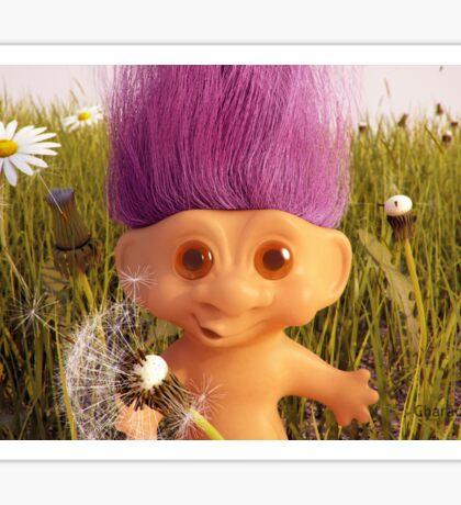 Troll doll in a field of dasies Sticker