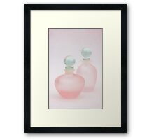 Two Pink Frosted Perfume Bottles Framed Print