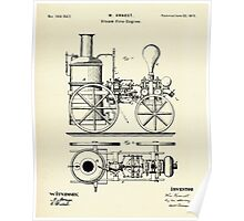 Firemans Steam Fire-Engine Patent Print - 1875 Poster