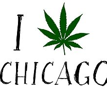 I Love Chicago Weed T-Shirts by MrAnthony88