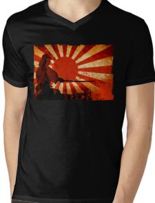 Samurai Sun Mens V-Neck T-Shirt