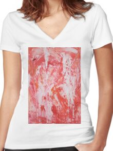 Red and White Drips Women's Fitted V-Neck T-Shirt