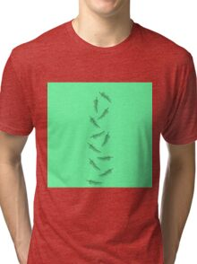 Simple Neon Mint Green with Minimalistic Feathers Tri-blend T-Shirt
