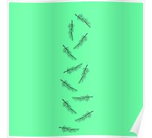 Simple Neon Mint Green with Minimalistic Feathers Poster
