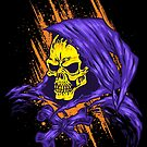 Purple Hooded Evil Skull Dude by JoeConde