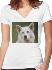 Working Dog Portrait Women's Fitted V-Neck T-Shirt