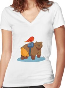 Real life Banjo Kazooie  Women's Fitted V-Neck T-Shirt