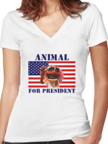 Animal for President Women's Fitted V-Neck T-Shirt