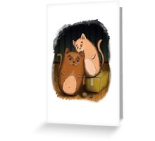 Two cute cats on wooden floor Greeting Card