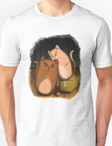 Two cute cats on wooden floor Unisex T-Shirt