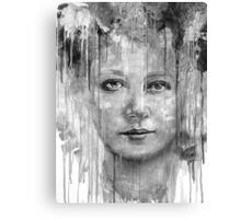 Black&White Vintage Woman  Paint Dripping  Canvas Print