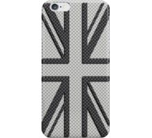 UK Flag Union Jack in Carbon Fiber White with Black iPhone Case/Skin